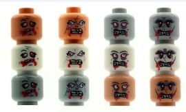 12 Custom Zombie Heads for The Walking Dead Minifigures